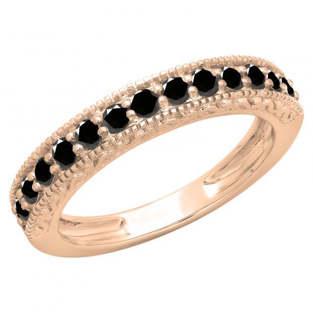 0.55 Carat (ctw) 10K Rose Gold Round Cut Black Diamond Ladies Millgrain Anniversary Wedding Stackable Band 1/2 CT