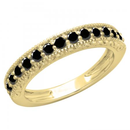 0.55 Carat (ctw) 14K Yellow Gold Round Cut Black Diamond Ladies Millgrain Anniversary Wedding Stackable Band 1/2 CT