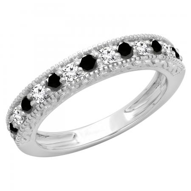 0.55 Carat (ctw) 10K White Gold Round Cut Black & White Diamond Ladies Millgrain Anniversary Wedding Stackable Band 1/2 CT