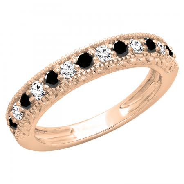 0.55 Carat (ctw) 18K Rose Gold Round Cut Black & White Diamond Ladies Millgrain Anniversary Wedding Stackable Band 1/2 CT