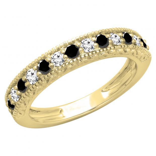 0.55 Carat (ctw) 18K Yellow Gold Round Cut Black & White Diamond Ladies Millgrain Anniversary Wedding Stackable Band 1/2 CT
