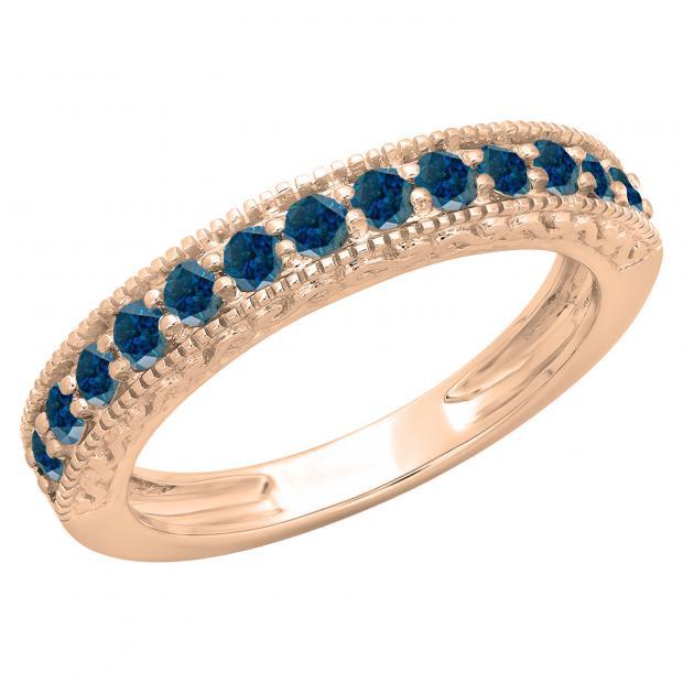 0.55 Carat (ctw) 10K Rose Gold Round Cut Blue Diamond Ladies Millgrain Anniversary Wedding Stackable Band 1/2 CT