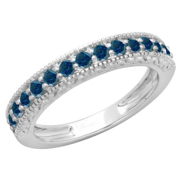 0.55 Carat (ctw) 18K White Gold Round Cut Blue Diamond Ladies Millgrain Anniversary Wedding Stackable Band 1/2 CT