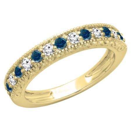 0.55 Carat (ctw) 10K Yellow Gold Round Cut Blue & White Diamond Ladies Millgrain Anniversary Wedding Stackable Band 1/2 CT