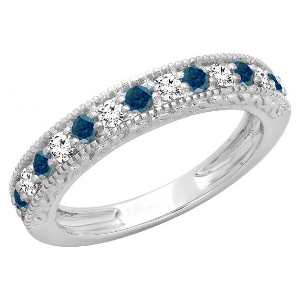 0.55 Carat (ctw) 14K White Gold Round Cut Blue & White Diamond Ladies Millgrain Anniversary Wedding Stackable Band 1/2 CT