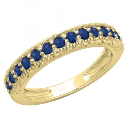 0.55 Carat (ctw) 14K Yellow Gold Round Cut Blue Sapphire Ladies Millgrain Anniversary Wedding Stackable Band 1/2 CT