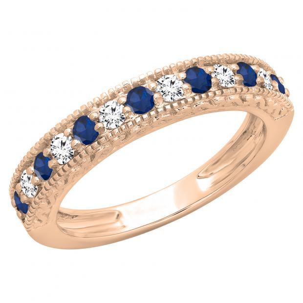 0.55 Carat (ctw) 10K Rose Gold Round Cut Blue Sapphire & White Diamond Ladies Millgrain Anniversary Wedding Stackable Band 1/2 CT