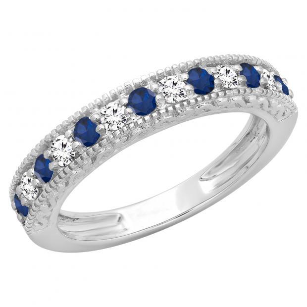 0.55 Carat (ctw) 18K White Gold Round Cut Blue Sapphire & White Diamond Ladies Millgrain Anniversary Wedding Stackable Band 1/2 CT