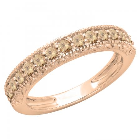 0.55 Carat (ctw) 10K Rose Gold Round Cut Champagne Diamond Ladies Millgrain Anniversary Wedding Stackable Band 1/2 CT