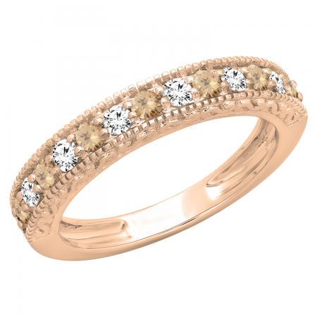 0.55 Carat (ctw) 14K Rose Gold Round Cut Champagne & White Diamond Ladies Millgrain Anniversary Wedding Stackable Band 1/2 CT