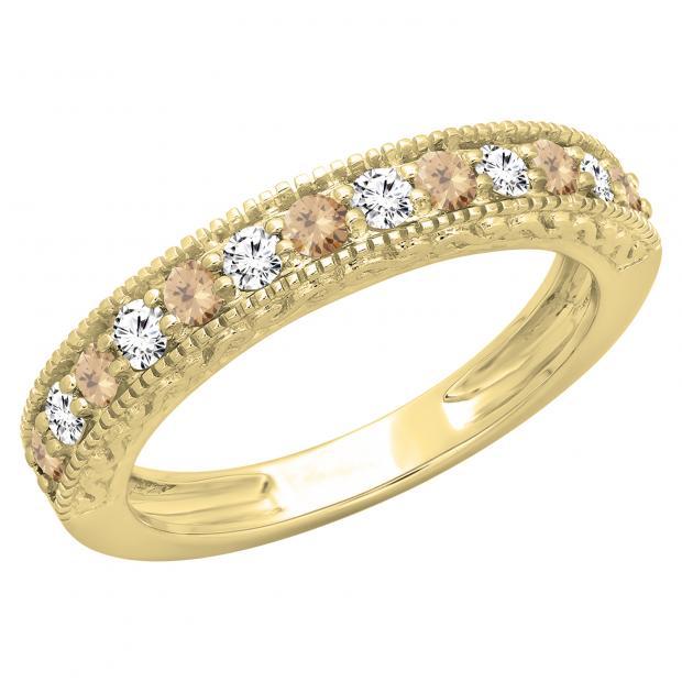 0.55 Carat (ctw) 14K Yellow Gold Round Cut Champagne & White Diamond Ladies Millgrain Anniversary Wedding Stackable Band 1/2 CT