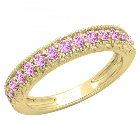 0.55 Carat (ctw) 10K Yellow Gold Round Cut Pink Sapphire Ladies Millgrain Anniversary Wedding Stackable Band 1/2 CT
