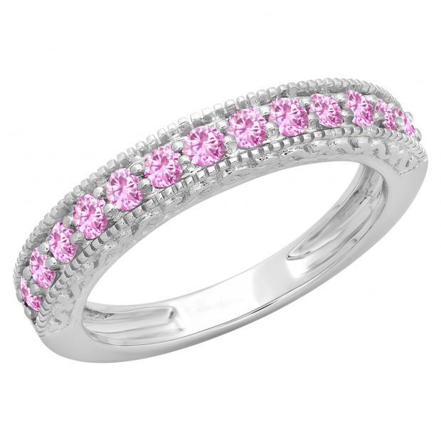0.55 Carat (ctw) 14K White Gold Round Cut Pink Sapphire Ladies Millgrain Anniversary Wedding Stackable Band 1/2 CT