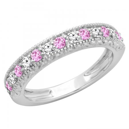 0.55 Carat (ctw) 10K White Gold Round Cut Pink Sapphire & White Diamond Ladies Millgrain Anniversary Wedding Stackable Band 1/2 CT