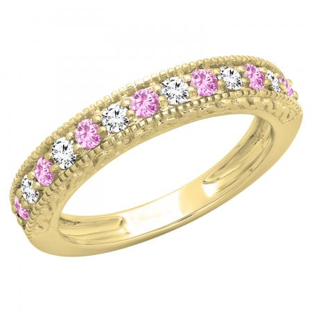 0.55 Carat (ctw) 14K Yellow Gold Round Cut Pink Sapphire & White Diamond Ladies Millgrain Anniversary Wedding Stackable Band 1/2 CT