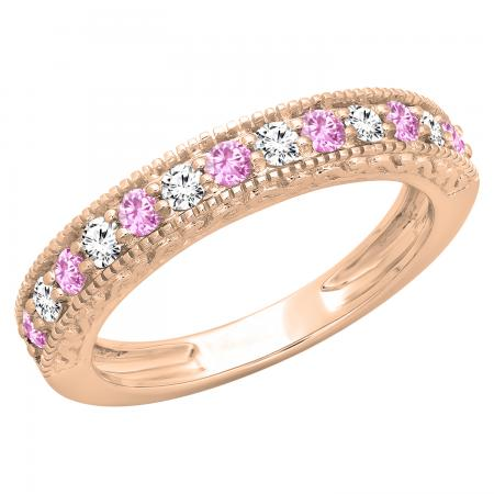 0.55 Carat (ctw) 18K Rose Gold Round Cut Pink Sapphire & White Diamond Ladies Millgrain Anniversary Wedding Stackable Band 1/2 CT