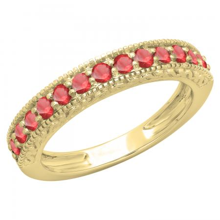 0.55 Carat (ctw) 10K Yellow Gold Round Cut Red Ruby Ladies Millgrain Anniversary Wedding Stackable Band 1/2 CT