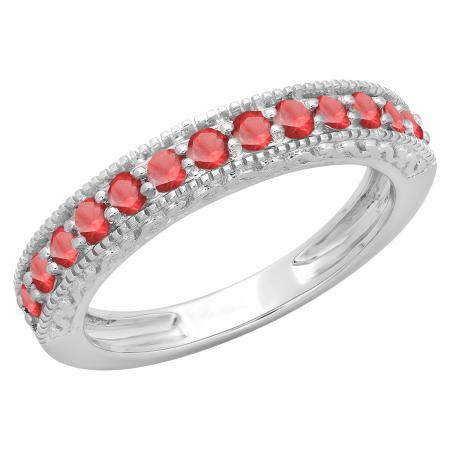 0.55 Carat (ctw) 14K White Gold Round Cut Red Ruby Ladies Millgrain Anniversary Wedding Stackable Band 1/2 CT
