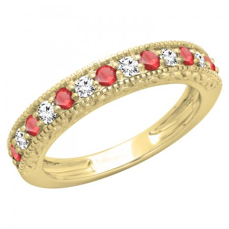 0.55 Carat (ctw) 10K Yellow Gold Round Cut Red Ruby & White Diamond Ladies Millgrain Anniversary Wedding Stackable Band 1/2 CT