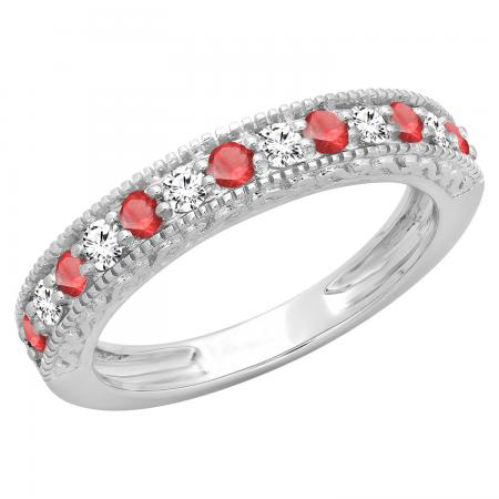 0.55 Carat (ctw) 18K White Gold Round Cut Red Ruby & White Diamond Ladies Millgrain Anniversary Wedding Stackable Band 1/2 CT