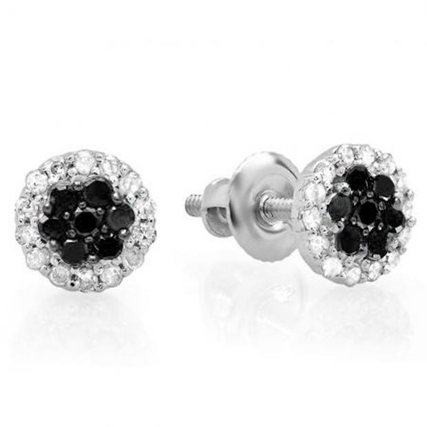0.30 Carat (ctw) 10K White Gold Black & White Diamond Ladies Cluster Flower Stud Earrings 1/3 CT