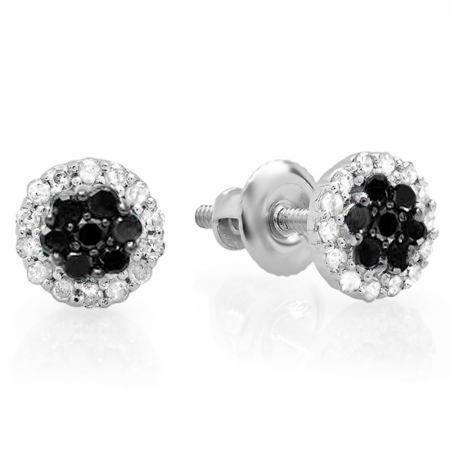0.30 Carat (ctw) 14K White Gold Black & White Diamond Ladies Cluster Flower Stud Earrings 1/3 CT