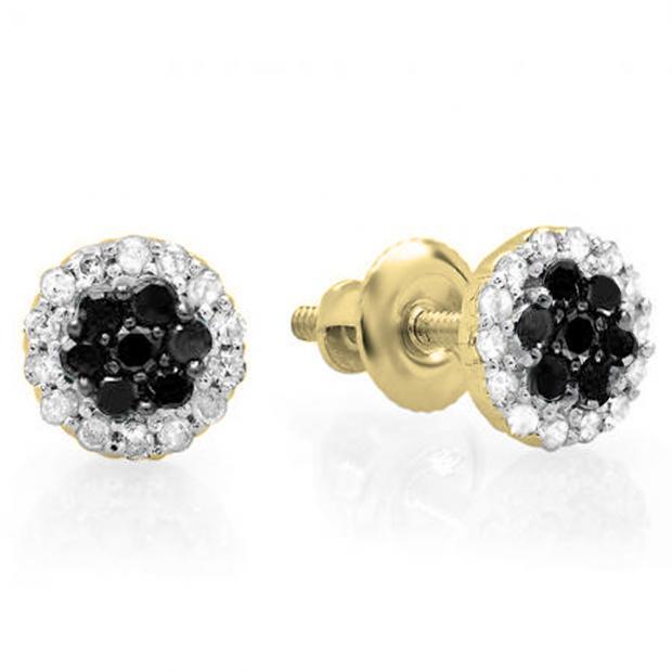 0.30 Carat (ctw) 14K Yellow Gold Black & White Diamond Ladies Cluster Flower Stud Earrings 1/3 CT