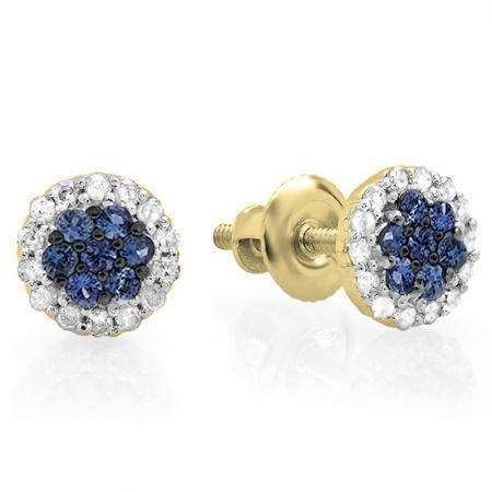 0.30 Carat (ctw) 10K Yellow Gold Blue Sapphire & White Diamond Ladies Cluster Flower Stud Earrings 1/3 CT