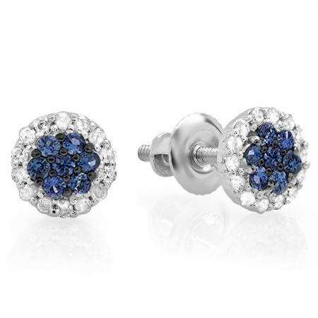 0.30 Carat (ctw) 14K White Gold Blue Sapphire & White Diamond Ladies Cluster Flower Stud Earrings 1/3 CT