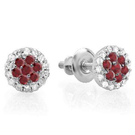 0.30 Carat (ctw) 14K White Gold Red Ruby & White Diamond Ladies Cluster Flower Stud Earrings 1/3 CT