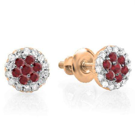 0.30 Carat (ctw) 18K Rose Gold Red Ruby & White Diamond Ladies Cluster Flower Stud Earrings 1/3 CT