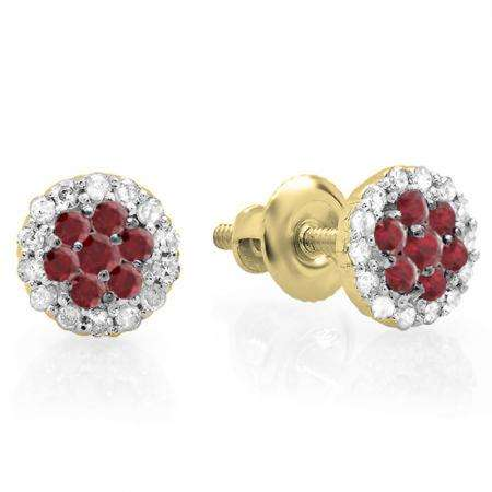 0.30 Carat (ctw) 18K Yellow Gold Red Ruby & White Diamond Ladies Cluster Flower Stud Earrings 1/3 CT