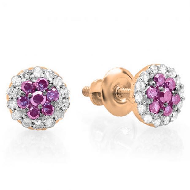 0.30 Carat (ctw) 14K Rose Gold Pink Sapphire & White Diamond Ladies Cluster Flower Stud Earrings 1/3 CT