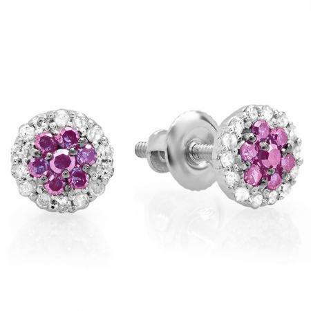 0.30 Carat (ctw) 18K White Gold Pink Sapphire & White Diamond Ladies Cluster Flower Stud Earrings 1/3 CT