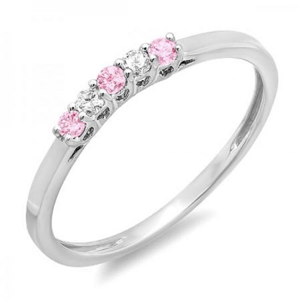 0.15 Carat (ctw) 14K White Gold Round Pink Sapphire & White Diamond Ladies 5 Stone Anniversary Wedding Band Ring