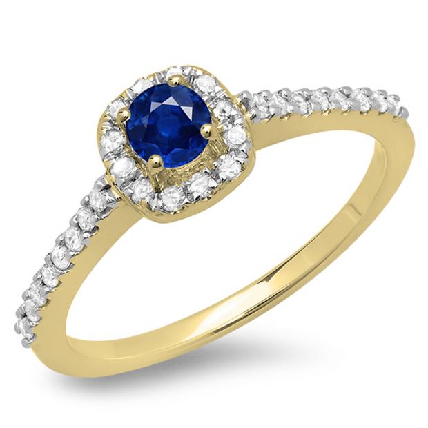 0.50 Carat (ctw) 10K Yellow Gold Round Blue Sapphire & White Diamond Ladies Halo Bridal Engagement Ring 1/2 CT