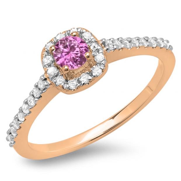 0.50 Carat (ctw) 10K Rose Gold Round Pink Sapphire & White Diamond Ladies Halo Bridal Engagement Ring 1/2 CT