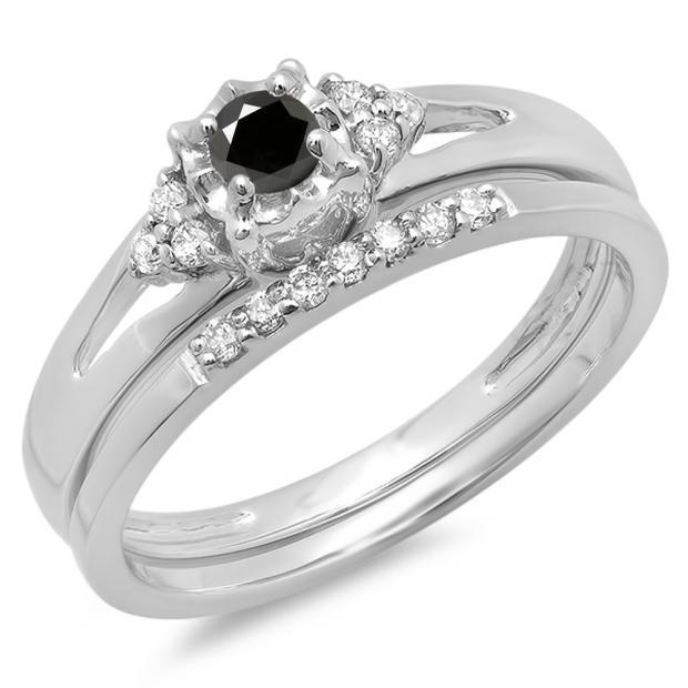 0.30 Carat (ctw) 10K White Gold Round Black & White Diamond Ladies Split Shank Bridal Engagement Ring Set With Matching Band 1/3 CT