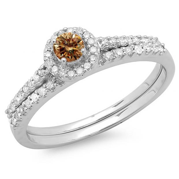 0.65 Carat (ctw) 10K White Gold Round Champagne & White Diamond Ladies Bridal Engagement Halo Ring With Matching Band Set