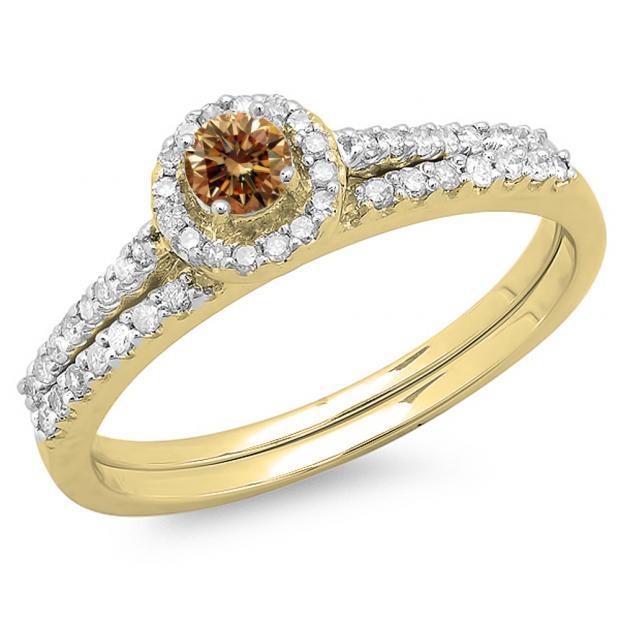 0.65 Carat (ctw) 10K Yellow Gold Round Champagne & White Diamond Ladies Bridal Engagement Halo Ring With Matching Band Set