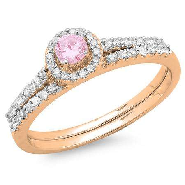 0.65 Carat (ctw) 10K Rose Gold Round Pink Sapphire & White Diamond Ladies Bridal Engagement Halo Ring With Matching Band Set