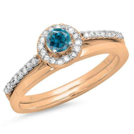 0.50 Carat (ctw) 10K Rose Gold Round Blue & White Diamond Ladies Bridal Engagement Halo Ring With Matching Band Set 1/2 CT