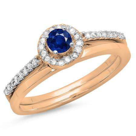 0.50 Carat (ctw) 14K Rose Gold Round Blue Sapphire & White Diamond Ladies Bridal Engagement Halo Ring With Matching Band Set 1/2 CT