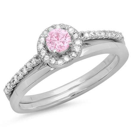 0.50 Carat (ctw) 14K White Gold Round Pink Sapphire & White Diamond Ladies Bridal Engagement Halo Ring With Matching Band Set 1/2 CT