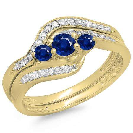 0.60 Carat (ctw) 10K Yellow Gold Real Round Blue Sapphire & White Diamond Ladies Swirl Style Bridal 3 Stone Engagement Ring With Matching Band Set