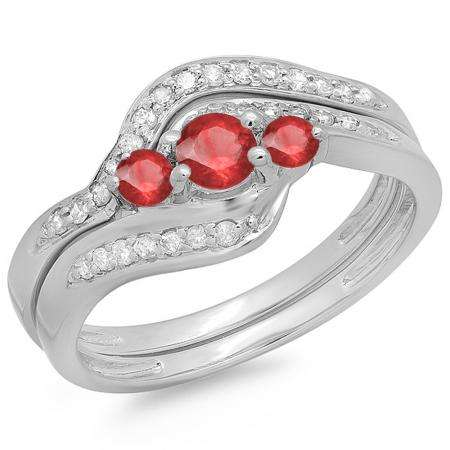 0.60 Carat (ctw) 14K White Gold Real Round Red Ruby & White Diamond Ladies Swirl Style Bridal 3 Stone Engagement Ring With Matching Band Set
