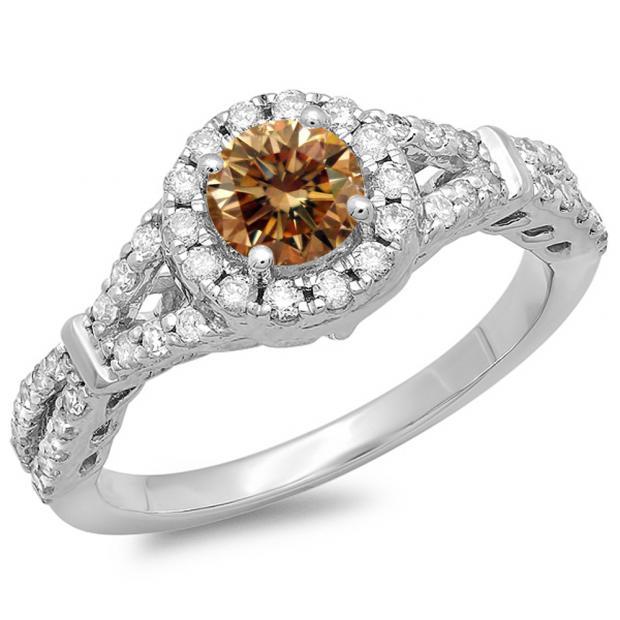 1.00 Carat (ctw) 14K White Gold Round Champagne & White Diamond Ladies Split Shank Bridal Engagement Halo Ring 1 CT