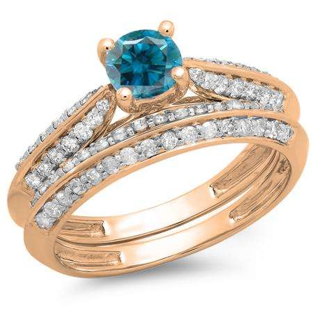 1.00 Carat (ctw) 10K Rose Gold Round Blue & White Diamond Ladies Bridal Engagement Ring With Matching Band Set 1 CT