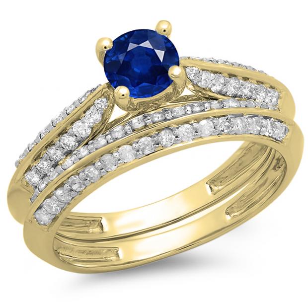 1.00 Carat (ctw) 10K Yellow Gold Round Blue Sapphire & White Diamond Ladies Bridal Engagement Ring With Matching Band Set 1 CT