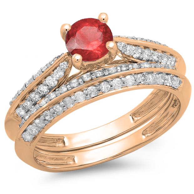 1.00 Carat (ctw) 10K Rose Gold Round Red Ruby & White Diamond Ladies Bridal Engagement Ring With Matching Band Set 1 CT